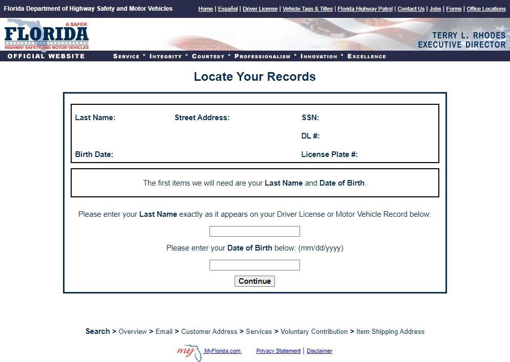 Oficinas de licencia de conducir en Orlando Florida informacion a introducir para ver tramites disponibles