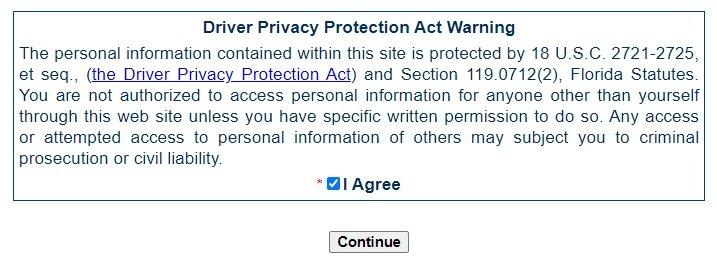 Oficinas de licencia de conducir en Orlando Florida sistema gorenew de renovacion de licencias en linea Mensaje Driver Privacy Protection Act Warning