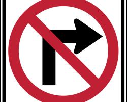 Señales de tránsito en USA - Prohibido girar a la derecha